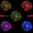 Five amazing colorful explosions splash pyrotechnics pack — Stock Photo