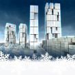 Skyscraper city at winter cold sunset snowflake frame — Stock Photo