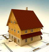 Real estate new building house with layout and sky — Stock Photo