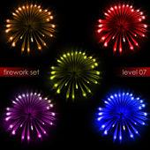 Cinque illuminazione incredibile pacchetto di fuoco d'artificio di esplosioni colorate — Foto Stock
