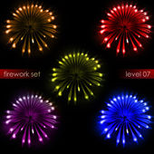 Five lighting amazing colorful explosions firework pack — Stok fotoğraf