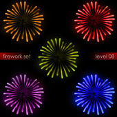 Five amazing colorful explosions firework pack — Stock Photo