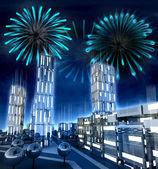 Moderní město s vystoupil windows s úžasnou ohněm show — Stock fotografie