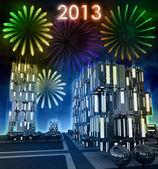 Awesome 2013 new celebration over modern skyscraper city — Stock Photo