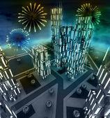 Scène de feux d'artifice de minuit sur ville de fenêtre — Photo