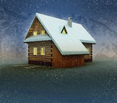 Seasonal mountain hut and window lighting at night snowfall — Stock Photo