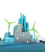 Moinhos de vento verdes na moderna cidade ecológica verde — Foto Stock
