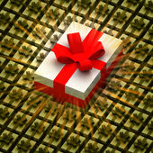 Bigger present box between golden boxes with flare — Stock Photo