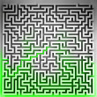 Green way solution at three dimensional maze top view — Stock Photo