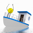 Dollar coin on sinking boat illustration — Foto Stock #20141733