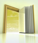Golden doorway frame open like book — Stock Photo