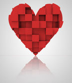 Rojo romántico tres dimensional cúbicos corazón — Foto de Stock