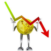 Dollar coin robot stop descending stock graph illustration — Stockfoto