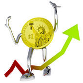 Dollar coin robot show better investment chace illustration — Stock Photo