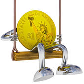 Dollar coin robot swinging on a swing left side view illustration — Стоковое фото