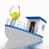 Dollar coin on the sinking boat illustration — Stock Photo