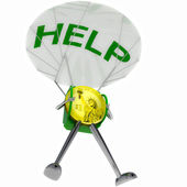 Dollar coin robot paratrooper bring help illustration — Stock Photo