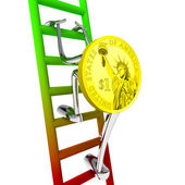 Dollar coin robot climbs up on red green ladder illustration — Stock Photo