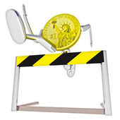 Dollar coin robot jumping above hurdle down view illustration — Stock Photo