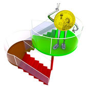 Dollar coin robot standing at the top of stairs illustration — Stock Photo