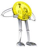 Dollar coin robot figure standing pose illustration — Stock Photo