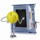 Dollar coin standing next to open vault illustration — Stock Photo