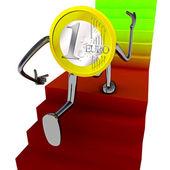 Robot de monedas de euro se levantan en el diagrama de escalera — Foto de Stock