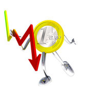 Euro coin robot stops descending graph illustration — Stock Photo