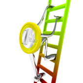 Euro coin robot climbs to the top of the ladder illustration — Stock Photo