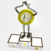 Euro coin robot as winner standing on podium ceremony illustration — Stok fotoğraf