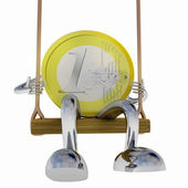 Euro coin robot swinging on a swing front view illustration — Stock Photo