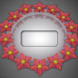 Blossom elliptical composition on grey linen with frame — Stock Photo