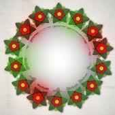 Dark red blossom circle on metallic background — Stock Photo
