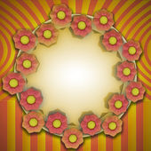 Striped yellow orange blossom circle card motive — Stock Photo