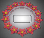 Blossom elliptical composition on grey linen with frame — Stockfoto