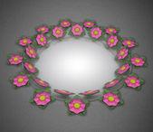Double blossom elliptical card motive on grey linen — Stock Photo