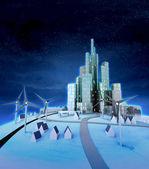 Vindkraftverk med moderna staden på natten — Stockfoto