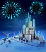 Pyrotechnics above futuristic windmill powered city — Stock Photo
