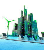 Renewable energy in modern green ecological city — Stock Photo