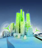 Rotating windmills powered modern green ecological city — Stock Photo