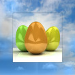 Sky background easter card with colorful eggs — Stock Photo
