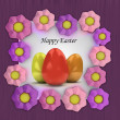 Easter card with colorful eggs in pink blossom frame — Stock Photo