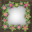 Five leaf blossom square frame on wooden surface — 图库照片