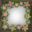 Five leaf blossom square frame on wooden surface — Stock fotografie