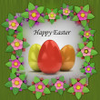 Easter card with colorful eggs in blooming plants frame — Stock Photo