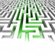 Green lighted entrance inside maze — Stock Photo