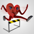 Stock Photo: Heart health figure runner jump