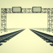 Stock Photo: Two railroads in corridor with construction