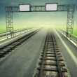 Stock Photo: Transformation of motorway to ecological rail transport