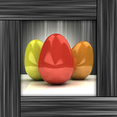 Easter card with colorful eggs in grey wooden frame — Stock Photo
